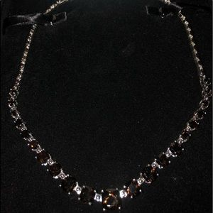 Amber and diamond sterling silver necklace